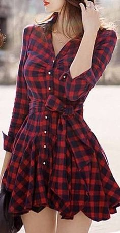 Red plaid long sleeve shirt dress with bowknot belt
