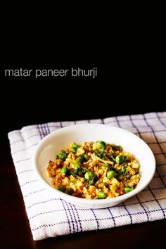 matar paneer bhurji - spicy blend of scrambled cottage cheese with peas, onions, green chilies, tomatoes and indian spices. step by step recipe.