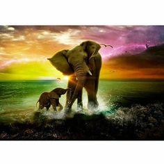 DIY Diamond Painting Elephant Family Mosaic Cross Stitch Full Square Drill Diamond Painting kit Sticker Home Decoration Gifts