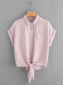 Shop Knot Front Cuffed Shirt With Chest Pocket online. SheIn offers Knot Front Cuffed Shirt With Chest Pocket & more to fit your fashionable needs. Teen Fashion Outfits, Hijab Fashion, Girl Fashion, Fashion Dresses, Cute Casual Outfits, Summer Outfits, Western Outfits, Cute Shirts, Shirt Outfit