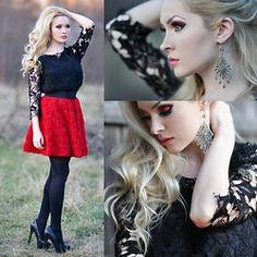 Meda Motisan - Chic Wish Skirt, Steve Madden Heels, Zara Shirt - Timeless black and red