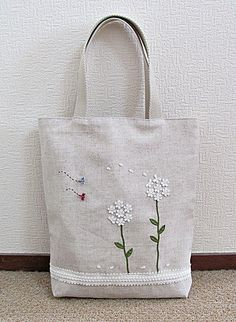 Items similar to Cotton linen book bag or tote with white lace flower applique Zakka style on Etsy