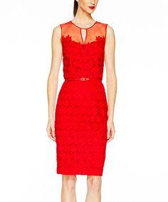 This Fiery Red Daisy Overlay Sheath Dress & Belt - Women is perfect! #zulilyfinds