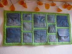Utensilo aus alten Jeans-Hosentaschen