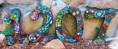 """LARGER Custom Made Mixed Media Mosaic House Numbers -  'Wild & Funky' style and colors (These are 12"""" tall examples only) - pinned by pin4etsy.com"""