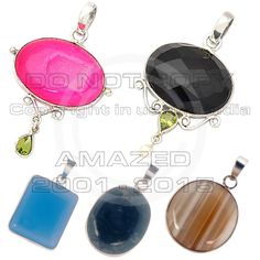 Sterling Silver Certified Handmade Best Quality Designer silver Low Cost Pendants has a thick plate of silver around the gemstone with Brown Lac Agate,Moss Agate,Blue Chalcydony,Pink Druzy Peridot,Black Onyx and other stone agate, jasper.The silver has high silver finish giving very modern look.Given weight is approx.