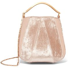 Eddie Borgo Pepper velvet and leather bucket bag ($1,160) ❤ liked on Polyvore featuring bags, handbags, shoulder bags, baby pink, bucket bags, structured handbags, pink shoulder bag, genuine leather purse and leather purses
