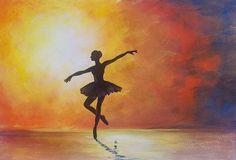 Ballerina Silhouette Ballet Dancer Acrylic Painting Tutorial #angelafineart