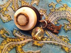 One of a kind charm ring, vintage button ring, cowboy boot charm ring, mother of pearl ring, on Etsy, $11.95