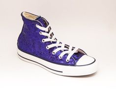 f417e7cec Custom Made Purple Sequin Canvas High Top Sneakers Chuck Taylors High Top