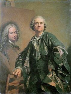 portraits d'artistes: Louis-Michel van Loo, peignant le portrait de son père, Jean-Baptiste van Loo , 1762