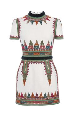 Shop Cotton Canvas Short Sleeve Dress With Embroidery by Valentino for Preorder on Moda Operandi
