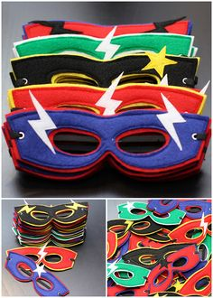 DIY Superhero Masks and other stuff for a superhero party! Superhero Birthday Party, Boy Birthday, Birthday Ideas, 17th Birthday, Birthday Favors, Birthday Parties, Mask Party, Sewing For Kids, Party Time