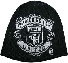 Manchester United Black Beanie LARGE White Club Crest Knitted Hat 33bdf2f98e47