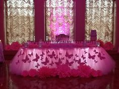 Pink Butterfly Themed Sweet 16 at The Larkfield Manor, East Northport NY Butterfly Centerpieces, Sweet 16 Centerpieces, Sweet 16 Decorations, Quince Decorations, Butterfly Table Decorations, Butterfly Theme Party, Butterfly Baby Shower, Pink Butterfly, Butterfly Kisses