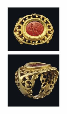 A ROMAN GOLD AND JASPER INTAGLIO RING -  CIRCA 2ND-3RD CENTURY A.D.