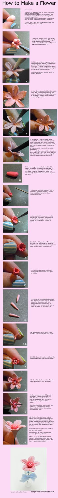how to make a clay flower tutorial
