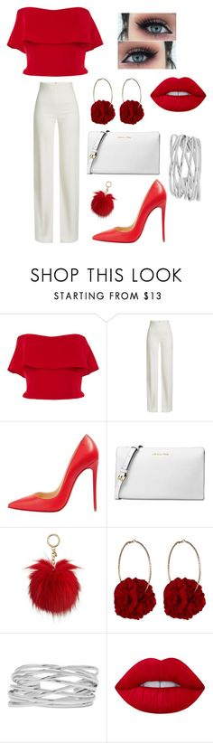 """""""Untitled #12"""" by lindseyhunter-1 ❤ liked on Polyvore featuring Reem Acra, Brandon Maxwell, Christian Louboutin, Michael Kors, Vjera Vilicnik, M&Co and Lime Crime"""