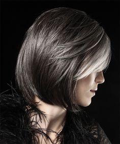 Medium Straight Formal Bob Hairstyle - Dark Grey - side view 1