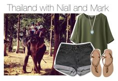 """Thailand with Niall and Mark"" by smery09 ❤ liked on Polyvore featuring Uniqlo, PèPè, Havaianas and Armenta"