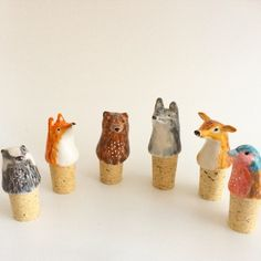 Porcelain Animal Bottle Stoppers - by Little Birdy. Miniature ceramic animals to keep your win fresh.