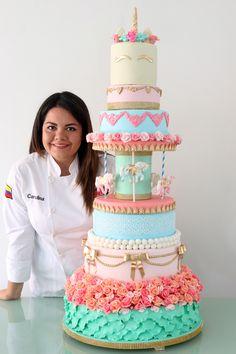 Carolina Marín Ruiz  Colombian cake artist @CaroLaPlus  Unicorn + Carousel cake