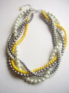 Yellow and grey wedding necklace. I am in love with this. It's so perfect!