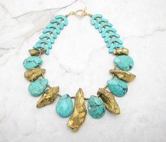 Turquoise Necklace.Statement Necklace.Turquoise Jewelry.Chunky Necklace.Boho Necklace.Bohemian Necklace.Bold Necklace.Jewelry. GOLD RUSH