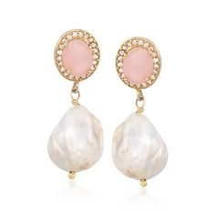 Ross-Simons - 13-13.5mm Cultured Baroque Pearl and Rose Quartz Drop Earrings in 14kt Gold Over Sterling - #830553