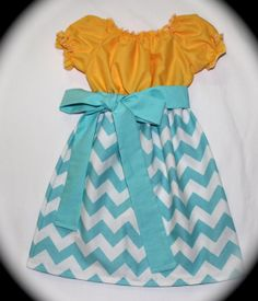 Peasant Dress, Aqua Chevron and Yellow Peasant Dress, short sleeve, Made To Order 12mths to 5T, Easter, Birthday, Photo Shoot, Everyday wear. $30.00, via Etsy.