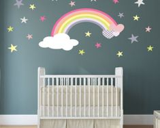 Rainbow Wall Decal, girls wall stickers nursery, baby room decor, toddler gift, pink, lemon, violet stars and hearts, Pastel Colours, Summer