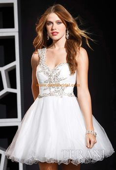 Cheap A-line One Shoulder Tulle White Cocktail Dresses/Short Prom Dress With Beading - Special Occasion Dresses Stunning Prom Dresses, Mini Prom Dresses, Prom Dress 2013, Prom Dress Stores, Prom Dress Shopping, Beautiful Prom Dresses, Dresses 2013, Formal Dresses, Prom Gowns