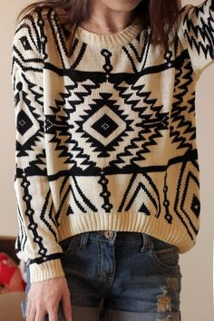 new Korean-style sweater geometry loose knit jumper