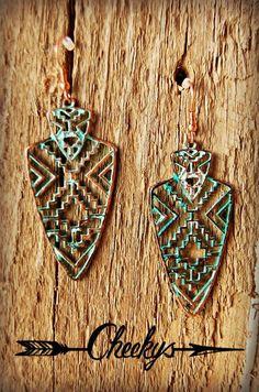 Wedding Jewelry Aztec Silver and Patina Arrowhead Earrings - Light Weight Trendy Fashion Jewelry, Fashion Jewelry Necklaces, Boho Jewelry, Wedding Jewelry, Antique Jewelry, Vintage Jewelry, Fine Jewelry, Handmade Jewelry, Jewelry Making