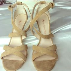 "Boston Proper Nude Strappy Sandal Brand new!!' Only tried on!/ FLirty/Fun/ Suede crisscross/ Silver tone ankle buckles/Leather/4"" heel/Size 10/ Price Firm Boston Proper Shoes Heels"