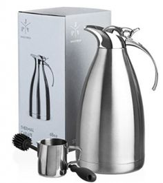 Stainless Steel Coffee Carafe - Insulated Thermal Carafe - 68 oz Thermos Pot for Coffee Tea or Hot Water - Insulated Double Walled Vacuum Dispenser with Free Bottle Brush & Milk Pitcher Piece Set] Espresso Coffee Machine, Best Appliances, Novelty Items, Ceramic Mugs, Tea Pots, Vacuums, Stainless Steel, Top, High Chairs