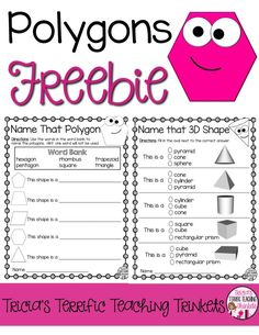 Polygons Freebie for Second Grade Math Geometry Unit Identify and Polygons Teaching Geometry, Geometry Activities, Teaching Math, Math Activities, Math Games, Creative Teaching, Math Resources, Teaching Ideas, Teaching Second Grade