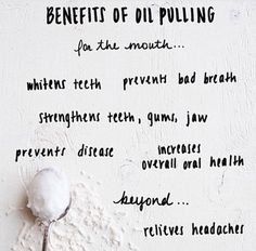 Using coconut oil to oil pull 20 minutes a day has amazing side effects for your health. No chemicals involved!