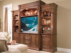 Nice color wood for entertainment center Home Entertainment Centers, Entertainment Furniture, Living Room Decor, Living Rooms, Home Goods, Family Room, House Plans, New Homes, House Design