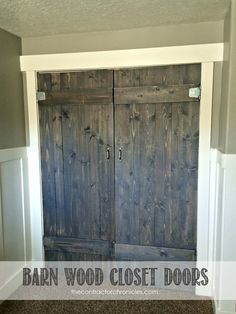 """""""""""""""""""For doors from master to bath. How to build barn wood closet doors for your home by The Contractor Chronicles Wood Closet Doors, Wood Doors, Pine Doors, Barn Wood, Rustic Wood, Rustic Modern, Rustic Farmhouse, Do It Yourself Furniture, Western Homes"""