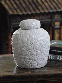 Luxe Textured Ceramic Jar Ceramic Cookie Jar, Ceramic Jars, Cookie Jars, Kitchen Stuff, Sweet Stuff, Sweet Home, Porcelain, Decorating Ideas, Fat