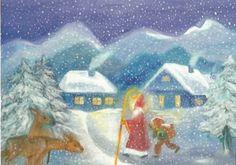 Winter - Postkarte Jahreszeitentisch St. Nikolaus - ein Designerstück von Barbarillia bei DaWanda
