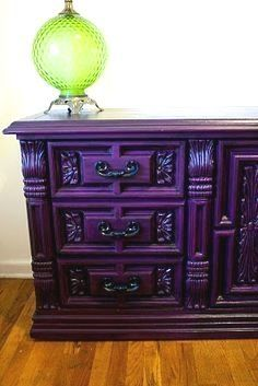 Modernly Shabby Chic Furniture: Barney the Purple Dresser and Night Stand