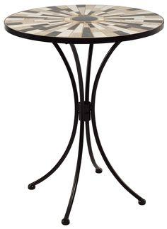 GTH 3087755 'Top 60 Bedoin' Ceramic Mosaic Bistro Table - Black