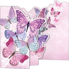 Pink Butterflies - a tri-fold, blank greeting card with extra flitter to catch the light. Pink Butterfly, Butterfly Cards, Looking For Employees, Purchase Card, Stationery Companies, Organiser Box, Beautiful Butterflies, Note Cards, Greeting Cards
