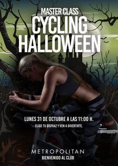 Master Class de Cycling especial Halloween. Te esperamos el lunes 31 de octubre a las 11:00 h. ven a pedalear entre risas y sustos. Prepara tu disfraz y ven. ¡Te esperamos en Metropolitan Balmes!