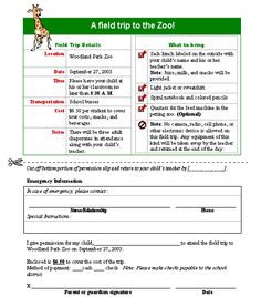 Field trip permission slip slip is sent to student home by the school