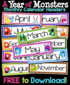 This is a collection of 12 labels to place above your classroom calendar. These monthly headers feature fun seasonal colors and monster graphics. They are formatted to print on legal-size paper. Once trimmed, the printed headers measure 4x13. For lasting durability, mount the headers on construction paper and laminate before use.