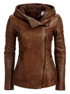 Gorgeous stylish hooded leather jacket fashion | Women Fashion Galaxy