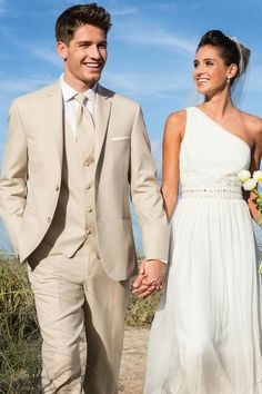 Wonderful Perfect Wedding Dress For The Bride Ideas. Ineffable Perfect Wedding Dress For The Bride Ideas. Beige Suits Wedding, Wedding Tux, Wedding Attire, Wedding Dresses, Tan Tuxedo Wedding, Luxury Wedding, Destination Wedding, Wedding Flowers, Wedding Venues